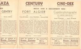 Ciné  Bioscoop Programma Cinema Majestic - Rex - Century - Savoy - Select - Gent - 1953 - Publicité Cinématographique