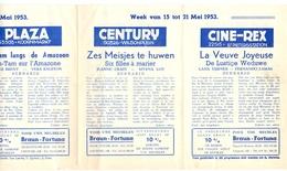 Ciné  Bioscoop Programma Cinema Majestic - Rex - Century - Savoy - Select - Gent - 15 Mei 1953 - Publicité Cinématographique