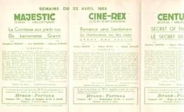 Ciné  Bioscoop Programma Cinema Majestic - Rex - Century - Savoy - Select - Gent - 22 April  1955 - Publicité Cinématographique