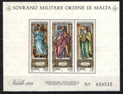 SMOM - 1974 - NATALE: LE 3 VIRTU' TEOLOGALI - FEDE, SPERANZA E CARITA' - FOGLIETTO - SOUVENIR SHEET - MNH - Sovrano Militare Ordine Di Malta