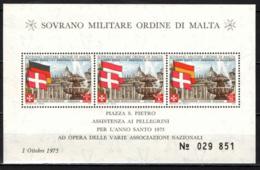 SMOM - 1975 - ANNO SANTO - ASSISTENZA AI PELLEGRINI - SPAGNA, AUSTRIA, GERMANIA - FOGLIETTO - SOUVENIR SHEET - MNH - Sovrano Militare Ordine Di Malta