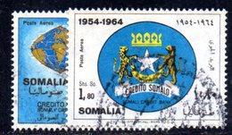 XP4316 - SOMALIA 1964 , Posta Aerea Serie Yvert N. 26/27  Usata . Banca - Somalia (1960-...)