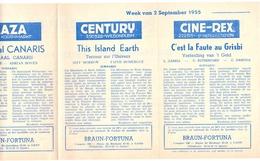 Ciné  Bioscoop Programma Cinema Majestic - Rex - Century - Savoy - Select - Gent - 2 September 1955 - Publicité Cinématographique