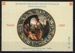 """SMOM - 2003 - NATALE - """"NATIVITA'"""" DI TOMMASO (CERCHIA DI LORENZO DI CREDI) - FOGLIETTO - SOUVENIR SHEET - MNH - Sovrano Militare Ordine Di Malta"""