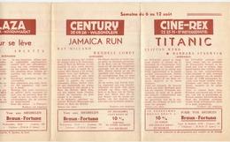 Ciné  Bioscoop Programma Cinema Majestic - Rex - Century - Savoy - Select - Gent - 6 Aug. 1953 - Titanic - Publicité Cinématographique