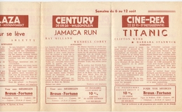 Ciné  Bioscoop Programma Cinema Majestic - Rex - Century - Savoy - Select - Gent - 6 Aug. 1953 - Titanic - Publicidad