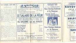 Ciné  Bioscoop Programma Cinema Capitole - Savoy - Select - Eldorado - Gent - La Salaire Du Peure - Yves Montand  1953 - Publicité Cinématographique