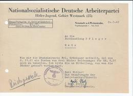 NSDAP Hitler Jugend Gebiet Westmark 1942 Neustadt A. D. Weinstrasse Jeunesse Hitlérienne Occupation Allemande Moselle - Historical Documents