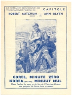 Ciné  Bioscoop Programma Cinema Capitole - Korea Minuut Nul - Robert Mitchum - Publicité Cinématographique