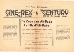 Ciné  Bioscoop Programma Programme Cinema - Ciné Rex & Century - De Zoon Van Ali Baba - Tony Curtis - Publicité Cinématographique