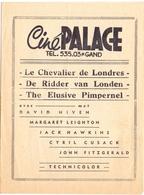 Ciné  Bioscoop Programma Programme Cinema - Ciné Palace Gent - Le Chevalier De Londres - David Niven - Publicité Cinématographique