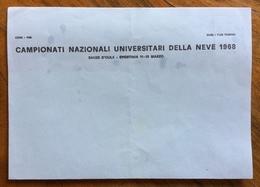 SPORT INVERNALI SAUZE D'OULX SPORTINIA CAMPIONATI NAZIONALI UNIVERSITARI DELLA NEVE 1968  Foglio Carta Intestata Nuovo - Francobolli