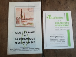 ALUCERAME ET LA CERAMIQUE NORMANDE USINE A ELBEUF ( 76 ) . LOT DE 2DOCUMENTS PUBLICITAIRES DES ANNEES 1950. - Publicités