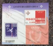 Malta 2014 ANNIVERSARIES SHEET MNH - Malta