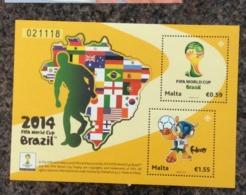Malta 2014 FIFA WORLD CUP SHEET MNH - Malta