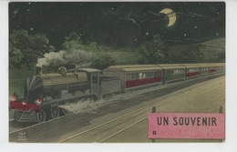 """CHEMIN DE FER - TRAINS - Jolie Carte Fantaisie Train Circulant De Nuit Clair De Lune """"Un Souvenir D..... """" - Trains"""