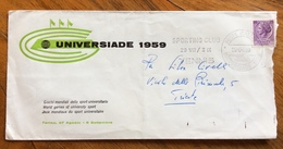 """UNIVERSIADE  1959  BUSTA SPECIALE CON ANNULLO : """"SPORTING CLUB TENNIS  POSTE ITALIANE 29/8/59"""" - Francobolli"""