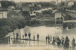 Gare De Gargan Livry Inondée Orage Pub Pernot Manège Fete Foraine J. Rantz Envoi Vallon En Sully 03 - Gares - Avec Trains
