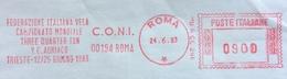 """ANNULLO TARGHETTA ROSSO """" FEDERAZIONE ITALIANA VELA COMITATO MONDIALE THREE QUARTER TON Y.C.ADRIATICO TRIESTE  1983 - Francobolli"""