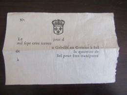 France - Document Ancien - Feuille De Comptes - Vers 1730 - à Gabellé Au Grenier à Sel - Documents Historiques
