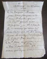 France - Ancienne Correspondance Datée De 1705 Avec Beau Cachet De Cire Au Verso - Documents Historiques