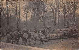¤¤  -  Carte-Photo Militaire Non Située De Soldats En Uniformes  -  Bucherons Aux Travail  -  Chevaux   -  ¤¤ - Uniformes