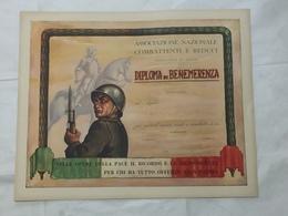 DIPLOMA DI BENEMERENZA ASSOCIAZIONE NAZIONALE COMBATTENTI E REDUCI VARESE 1950 - Diplomi E Pagelle