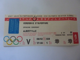 """Biglietto Integro """"XVI° JEUX OLYMPIQUE D' HIVER CEREMONIE D'OVERTURE  ALBERTVILLE 1992"""" - Tickets - Vouchers"""