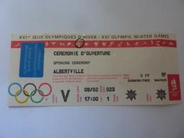 "Biglietto Integro ""XVI° JEUX OLYMPIQUE D' HIVER CEREMONIE D'OVERTURE  ALBERTVILLE 1992"" - Biglietti D'ingresso"
