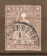 Zu 22D Fil De Soie Noir Obl. WINTERTHUR 1.2.59 Signé Kimmel BPP SBK 50,- Voir 2 Scans + Description - 1854-1862 Helvetia (Non-dentelés)