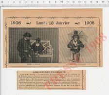 2 Scans Humour Singe Missing Link Chimpanzé Savant Collection De M. Bostock Chasse Saint-Hubert Pose Un Lapin 216E10 - Vieux Papiers
