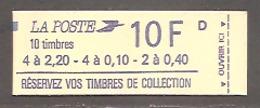 """LIBERTE 1985. CARNET Mixte à 10 F. N° 1501. Fermé. (Pointillés Sous """"ouvrir Ici"""" Longs De 19mm. > Répertoire FRANC. K) - Carnets"""
