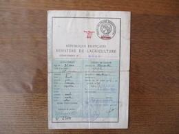 PERMIS DE CHASSE REPUBLIQUE FRANCAISE MINISTERE DE L'AGRICULTURE 1927 CACHET 40 FRANCS  MAJORE 44F TIMBRES 1929 ET 1930 - Steuermarken