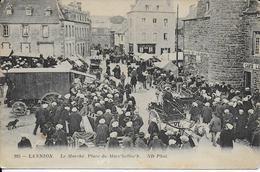 Cpa LANNION 22- Le Marché,Place Du Mar'Hallac'htrès Animée Pers. Et Voitures écrite Voyagée 1913 - Lannion