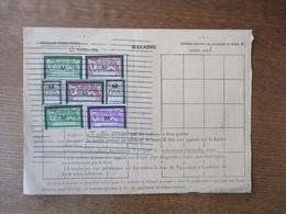 7 TIMBRES ASSURANCES SOCIALES M 1934 SUR FEUILLET TRIMESTRIEL DE COTISATIONS 0F25 (2) 5F (2) 12F (2) Et 18F - Revenue Stamps