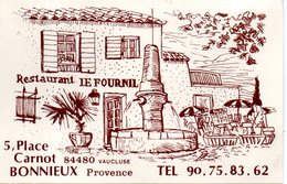 Restaurant Le Fournil. 5 Place Carnot; 84480 Bonnieux - Cartes De Visite