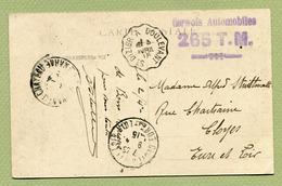 """DOULEVANT  (52) : """" CONVOIS AUTOMOBILES - 265 T.M. """" 1915 Sur Belle Carte De WASSY + Convoyeur - Marcophilie (Lettres)"""