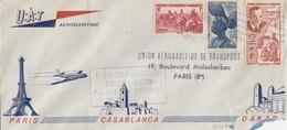 1953. UAT AEROMARITIME 1° LIAISON AVION REACTION PARIS, CACABLANCA, DAKAR - Poste Aérienne