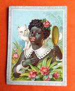 Amidon Hoffmann Chat Blanc Cat Jolie Chromo Jeune Fille Noire Miroir Fleurs - Chromos