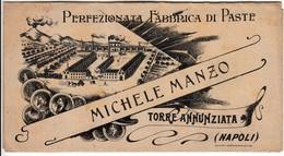 MICHELE MANZO FABBRICA DI PASTA TORRE ANNUNZIATA - BROCHURE DEPLIANT PUBBLICITARIO PRIMI '900 - Publicités