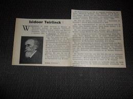 """Origineel Knipsel ( 2533 ) Uit Tijdschrift """" Ons Volk """"  1934 :  Isidoor Teirlinck   Segelsem  Zegelsem - Vieux Papiers"""