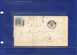 ##(DAN194)-Italy 1867-Piego Completo Di Testo, Annullo Numerale A Punti 21 Su Effigie Cent.20 Da Palermo Per Polizzi - 1861-78 Vittorio Emanuele II