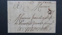 """Lettre Le  Havre Marque Postale Manuscrite  """" Au Havre """"  1736  Pour Marseille  Avec Texte Voir Scans - Marcophilie (Lettres)"""