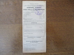 DEMANDE D'ACHAT DE PNEU VELO OU VELOMOTEUR OFFICE CENTRAL DE REPARTITION DES PRODUITS INDUSTRIELS - Documents Historiques