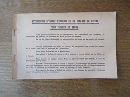 CARNET ATTRIBUTION SPECIALE D'ENGRAIS ET DE SULFATE DE CUIVRE POUR POMMES DE TERRE G.I.R.P.I.A. LILLE 6 PAGES - Documents Historiques