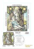 ITALIA - 2000 ASCOLI PICENO Madonna Con Bambino Di CARLO CRIVELLI (Ancona, Pinacoteca Comunale) Ann. Fdc Su Cartolina PT - Christentum