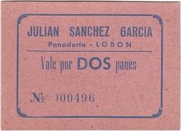 España - Spain Vale Por 2 Panes Lobón (Badajoz) UNC Ref 3056-1 - [ 3] 1936-1975 : Régimen De Franco