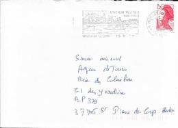 MAINE ET LOIRE 49   -    MONT JEAN SUR LOIRE      -  FLAMME  -  STATION VERTE / SON SITE / SES VINS    -  1999  - - Marcophilie (Lettres)