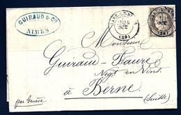 LET2- LETTRE DE NIMES POUR BERNE- CERES N° 56 BRUN 30 Ct- CAD DE GARE OBLITÉRANT DE 1876- 4 SCANS - Marcophilie (Lettres)
