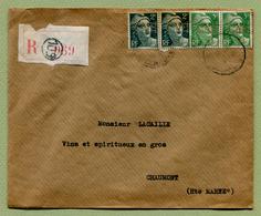 LETTRE RECOMMANDEE De 1947 Avec GANDON Perforé C.N.E. - Perforés